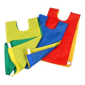 Afbeelding van overgooier nylon - omkeerbaar - L - geel/rood