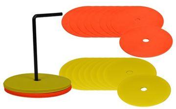 Afbeelding van Platte markeerschijven - set/24 (geel/rood)