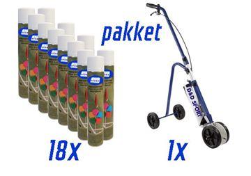 Afbeelding van Pakket: 18x Krijtspray 750ml + 1x belijningswagen